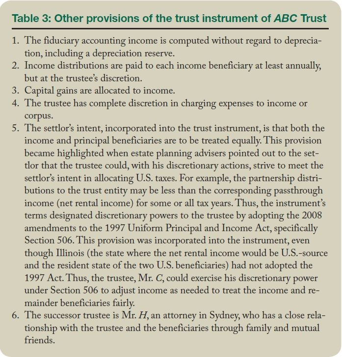 Table 3: Other provisions of the trust instrument of ABC Trust