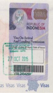 Visa on arrival Indonesia